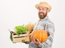 Farmer carry box or basket harvest vegetables. Excellent quality vegetables. Grocery shop concept. Delivery service. Fresh vegetables from farm. Buy fresh royalty free stock photos