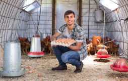 Farmer carrying chicken eggs in coop Stock Photography