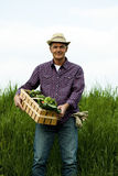 Farmer carrying  a crate of vegetables Stock Photo