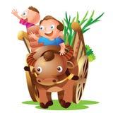Farmer cart. Dad son farmer onthe cart greet Royalty Free Stock Images