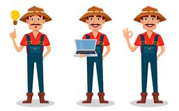 Farmer cartoon character set. Cheerful gardener has a good idea, holds laptop and shows ok sign. Vector illustration isolated on white background Stock Photos