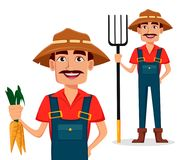 Farmer cartoon character set. Cheerful gardener holds blank fresh carrots and holds pitchfork. Vector illustration isolated on whi. Te background Stock Photography