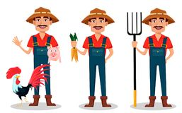 Farmer cartoon character set. Cheerful gardener stands with farm animals, holds carrots and holds pitchfork. Vector illustration isolated on white background Stock Images