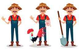 Farmer Cartoon Character Set. Cheerful Gardener Waves Hand, Stands With Farm Animals And Holds Shovel. Royalty Free Stock Images