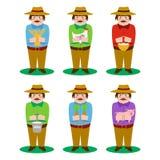 Farmer cartoon character set. With vegetables, milk, egg, wheat stock illustration