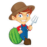 Farmer holding rake vector illustration