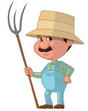Farmer. Cartoon illustration of farmer on white Royalty Free Stock Photography