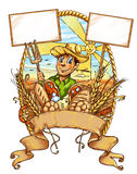 Farmer cartoon  with signboard Stock Photo