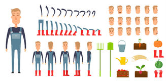 Farmer character creation set. Icons with different types of faces, emotions, clothes. Front, side, back view male Royalty Free Stock Image