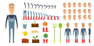 Farmer character creation set. Icons with different types of faces, emotions, clothes. Front, side, back view male Stock Photos