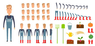 Farmer character creation set. Icons with different types of faces, emotions, clothes. Front, side, back view male Royalty Free Stock Photography