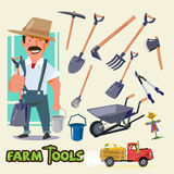 Farmer character with farm tools set -  Royalty Free Stock Photography