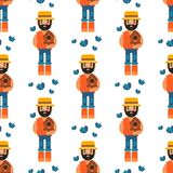 Farmer character forester man seamless pattern background agriculture person profession rural gardener worker farming. Funny farmer character forestercartoon man Stock Photos