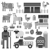 Farmer character man agriculture monochrome profession rural gardener farm animals vector illustration. Royalty Free Stock Images