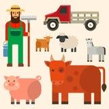 Farmer character man agriculture person profession rural gardener farm animals vector illustration. Stock Image
