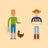 Farmer character man agriculture person profession rural gardener worker people vector illustration. Stock Images