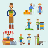 Farmer character man agriculture person profession rural gardener worker people vector illustration. Royalty Free Stock Photography