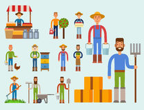 Farmer character man agriculture person profession rural gardener worker people vector illustration. Royalty Free Stock Photo