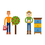 Farmer character man agriculture person profession rural gardener worker people vector illustration. Royalty Free Stock Image