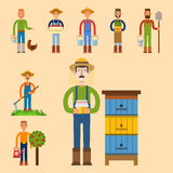 Farmer character man agriculture person profession rural gardener worker people vector illustration. Stock Photo