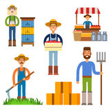 Farmer character man agriculture person profession rural gardener worker people vector illustration. Stock Photos