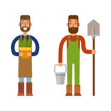 Farmer character man agriculture person profession rural gardener worker people vector illustration. Royalty Free Stock Images