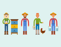 Farmer character man agriculture person profession rural gardener worker people vector illustration. Stock Image