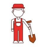 Farmer character with shovel. Vector illustration design stock illustration