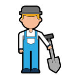 Farmer character with shovel. Vector illustration design vector illustration
