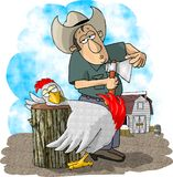 Farmer and chicken Royalty Free Stock Image
