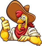 Farmer chicken. Cartoon farmer chicken with thumb up. Vector clip art illustration with simple gradients. All in a single layer stock illustration