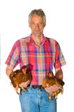 Farmer with chickens Stock Photos