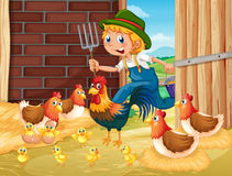 Farmer and chickens in the barn. Illustration Stock Image