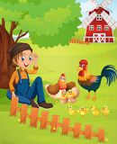 Farmer and chickens on the farm Stock Photo
