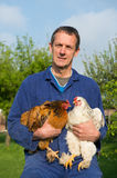 Farmer with chickens. Farmer outdoor is carrying chickens Stock Photos