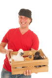 Farmer with chickens Stock Photography