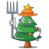 Farmer Christmas tree character cartoon. Vector illustration Stock Photos