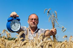 Farmer with Clock 11:55 stock photography