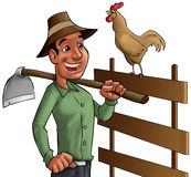 Farmer and cock. Farmer going to worker earling in the morning with the cock singing Royalty Free Stock Images