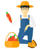 Farmer collecting carrots. An asian farmer collecting carrots in basket vector flat design illustration isolated on white background Royalty Free Stock Images