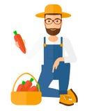 Farmer collecting carrots Royalty Free Stock Photos