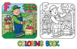 Farmer coloring book. Alphabet F. Profession ABC Royalty Free Stock Photo