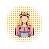 Farmer comics icon. On a white background Royalty Free Stock Photo