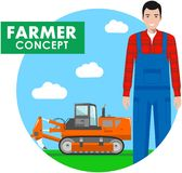 Farmer concept. Detailed illustration of driver, workman in overalls on background with tractor, excavator in the field. Detailed illustration of driver, farmer Royalty Free Stock Photo