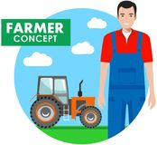 Farmer concept. Detailed illustration of driver, workman in overalls  Stock Photography