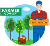 Farmer concept. Detailed illustration of gardener man in overalls on background with apple trees in flat style. Vector illustratio. Detailed illustration of Stock Photo