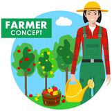 Farmer concept. Detailed illustration of gardener woman in overalls on background. Detailed illustration of farmer gardener woman in overalls on background with Royalty Free Stock Photos