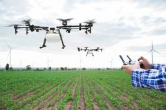 Farmer control agriculture drone fly to sprayed on corn field Royalty Free Stock Photos