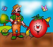 Farmer in the country hoe royalty free illustration