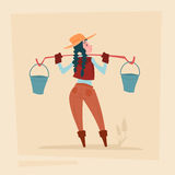 Farmer Country Woman Agriculture Business Cartoon Character Royalty Free Stock Images